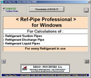 Refrigerants' Tubes Networks (Ref-Pipe Professional, NEW Version 2020)